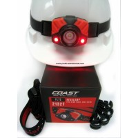 "Hard hat w/rubber strap, twin red LED lights ""On"", reflective fabric head band, clips, gift style box."